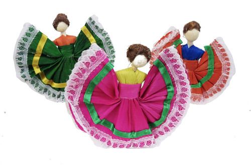 "3 PACK 4"" Mexican Handmade Corn Husk Tamale Tamal Doll"