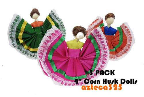 "3 PACK 4"" Mexican Handmade Corn Husk Tamale Tamal Doll"