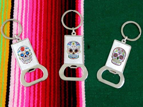 sugar skull day of the dead key ring