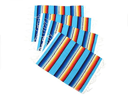 Mexican Sarape Serape Place Mat (Set of 4) (Aqua)