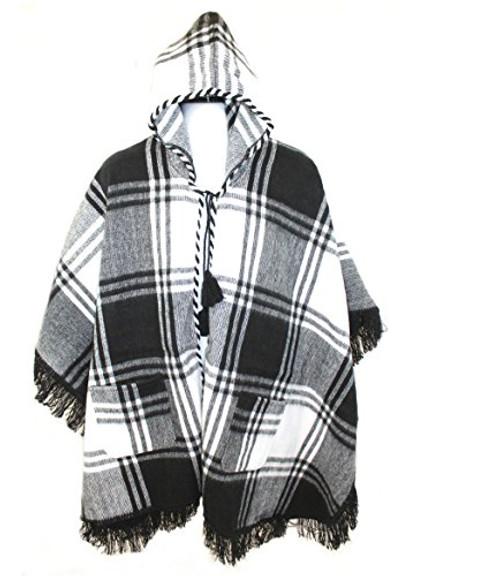 Wool Blend Cuadrados Poncho from Ecuador (Black)