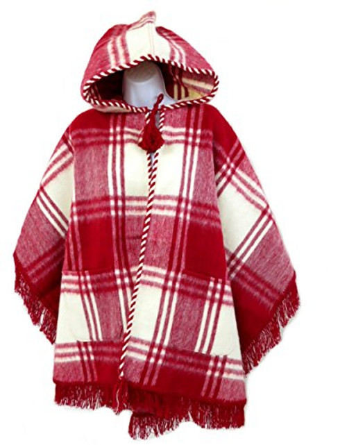Wool Blend Cuadrados Poncho from Ecuador (Red / Cream)