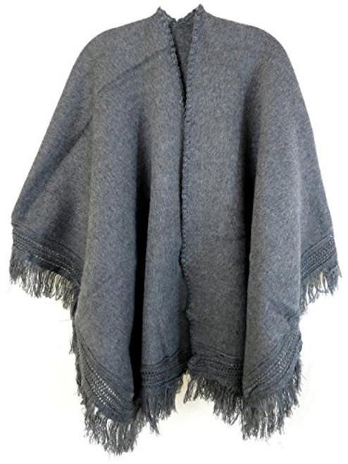 Ecuador Ethnic Wool Blend Solid Cape Shawl (Gray)