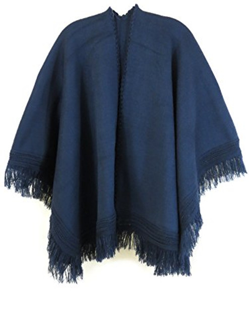 Ecuador Ethnic Wool Blend Solid Cape Shawl (Navy Blue)