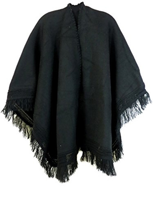 Ecuador Ethnic Wool Blend Solid Cape Shawl (Black)