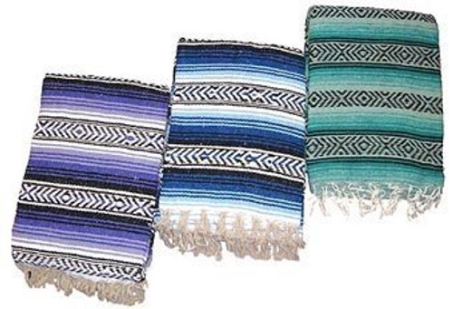 """Traditional 3 Pack Falsa Mexican Tourist Blanket Yoga Picnic Throw 58"""" X 74"""""""