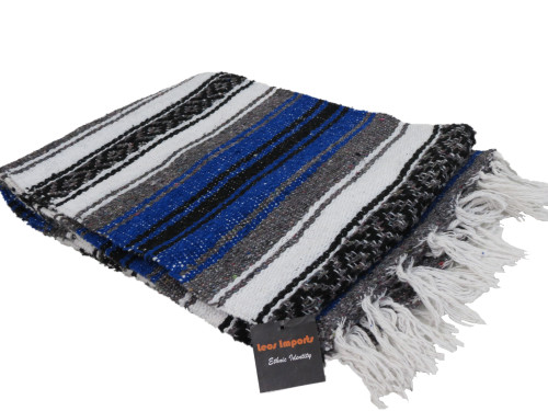 mexican yoga blanket blue