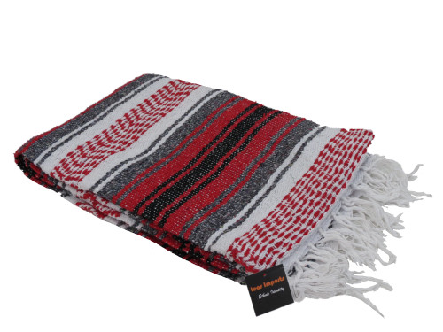 mexican yoga blanket red