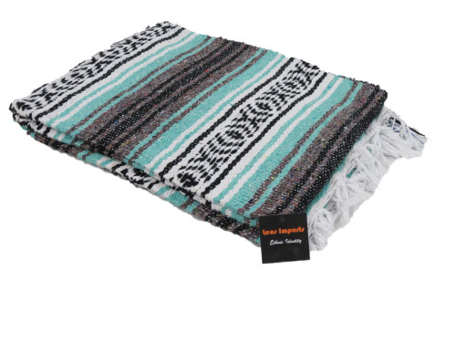 mexican falsa blanket yoga mint