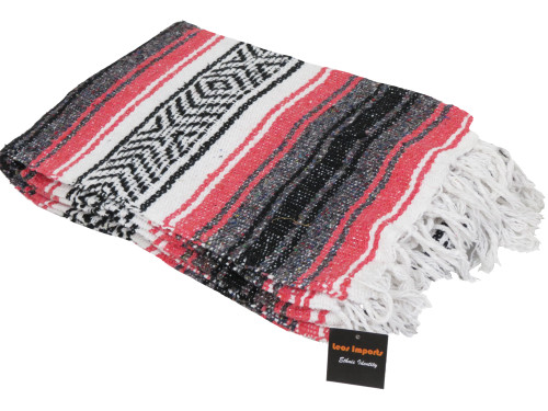 mexican falsa blanket yoga coral