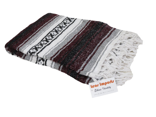 mexican falsa blanket yoga burgandy