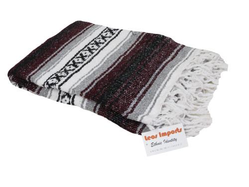 mexican falsa blanket yoga burgandy