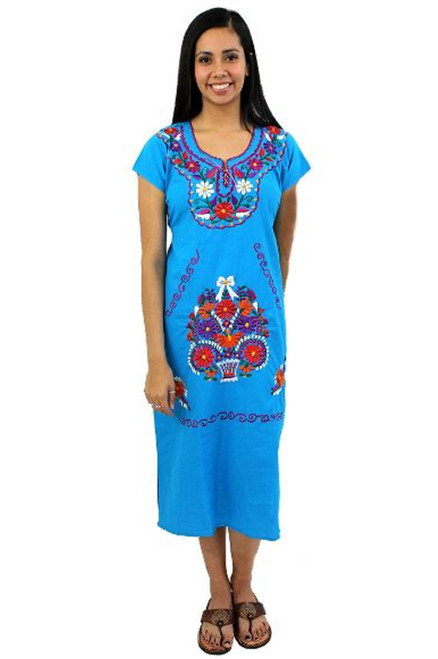Mexican Dress Moni Below The Knee (Aqua)