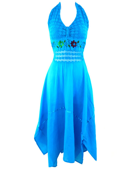 Ethnic Identity Leos Imports (TM) Mexican Halter Dress (Aqua)