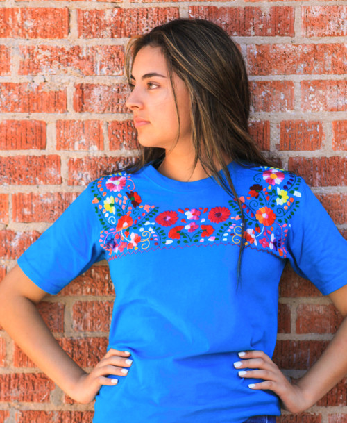 Mexican blouse style embroidered T shirt