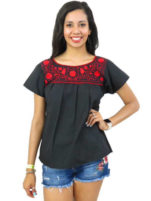 Solid embroidery mexican puebla blouse black and red