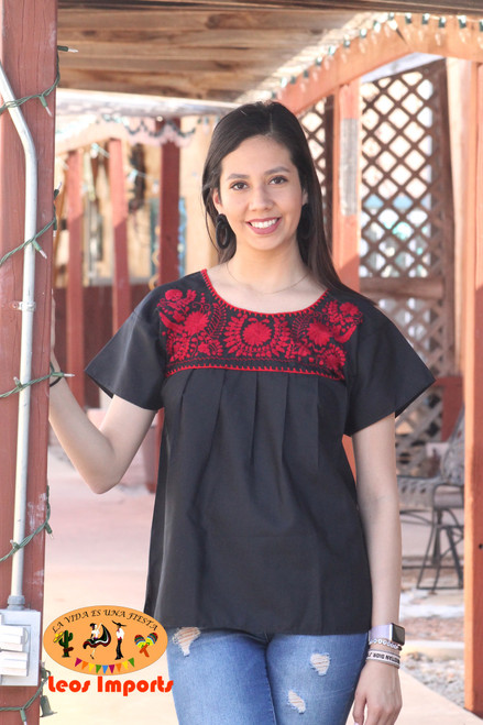 mexican black blouse puebla red embroidery