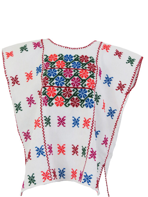 Mexican Embroidered Guerrero Blouse (White)