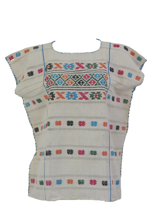 Mexican Embroidered Guerrero Blouse (Off-White)