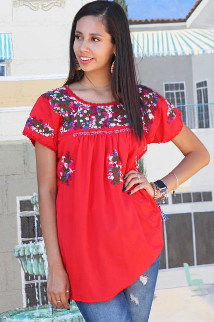 Red san antonio blouse