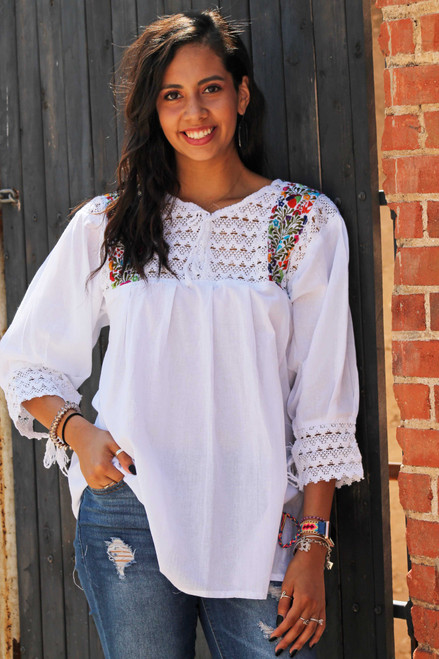 mexican blouse 3/4 sleeve