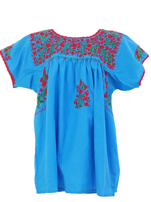 Aqua with Red and Green Flower San Antonio Blouse