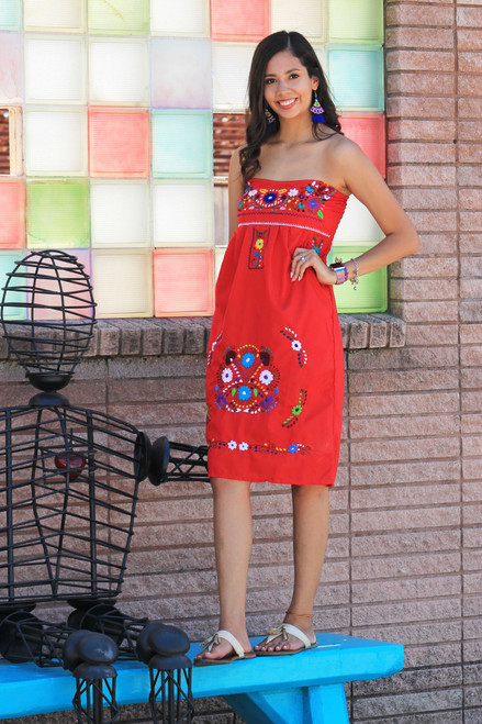 strapless hand embroidered dress