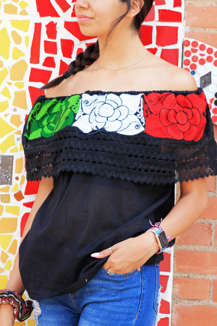 Black chiapas blouse