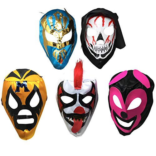 5 Pack Mexican Lucha Libre Luchador Mask Youth-Adult Masks