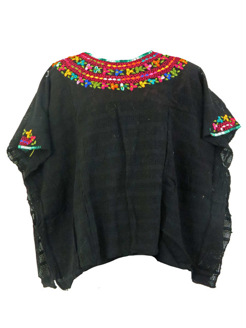 Black Women's Mexican Crochet Poncho