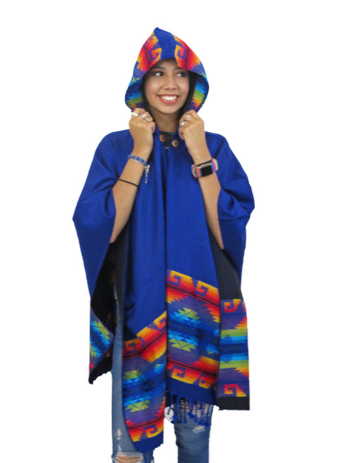 ecuador Cape with Hood in Royal Blue