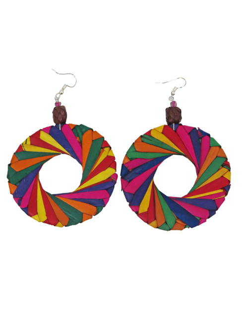 Multicolored palm earrings