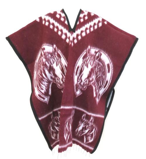 mexicn poncho horseshoe burgundy