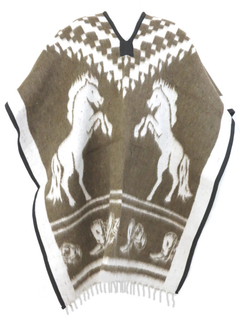 mexican poncho horses brown