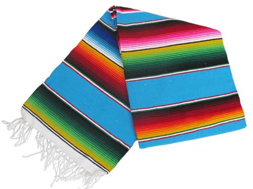 "Serape Sarape Mexican Blanket XL 82"" x 60"" (Aqua)"