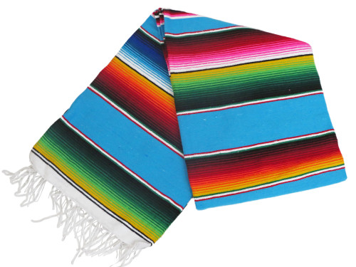 "Serape Sarape Mexican Blanket XL 84"" x 55"" (Aqua)"