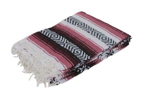 mexican burgundy falsa blanket