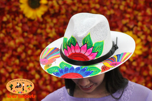 mexican straw hat hand painted