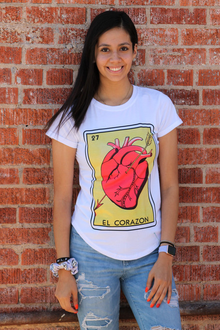 El Corazon Loteria Shirt WHITE FITTED