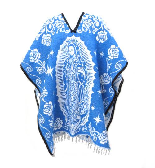 Authentic Mexican Poncho Virgin de Guadalupe Cobija (Royal Blue)