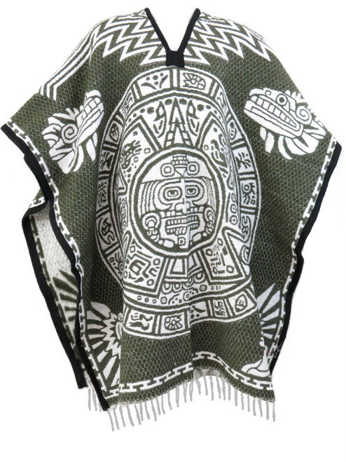 Authentic Mexican Poncho Aztec Calendar Unisex Reversible Cobija Blanket (Olive Green)