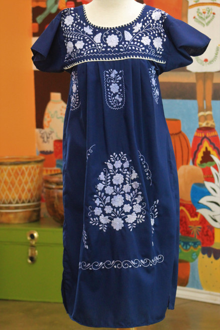 Mexican Dress Puebla Navy w/ Solid Light Blue Embroidery