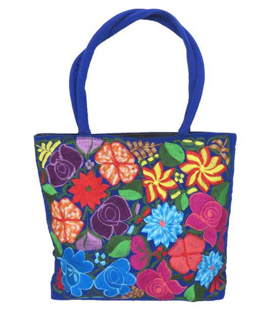 """Embroidered Mexican Floral Purse Large 15""""x17"""""""