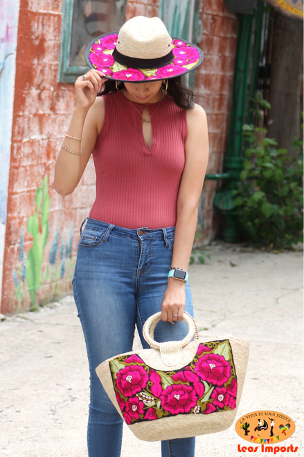 embroidered hat and purse set