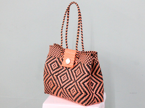 Ecofriendly Handwoven Stunning Plastic Tote Purse with Closure