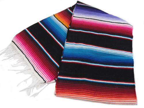 "Serape Sarape Mexican Blanket XL 84"" x 55""  (Black)"