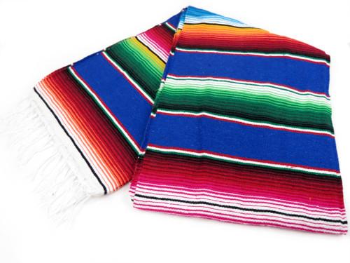 "Serape Sarape Mexican Blanket XL 84"" x 55""  (Royal Blue)"
