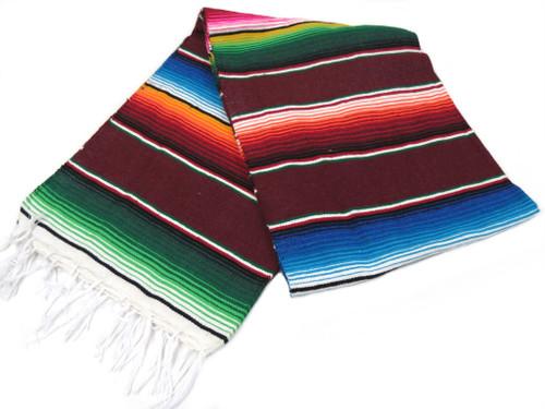 "Serape Sarape Mexican Blanket XL 84"" x 55""  (Burgandy)"