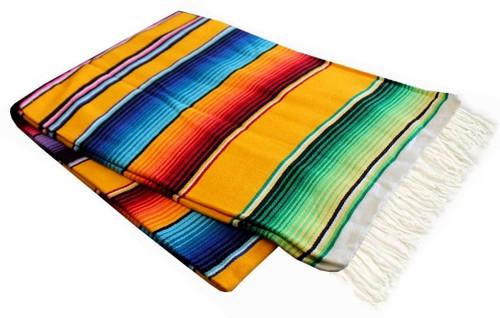 "Serape Sarape Mexican Blanket XL 84"" x 55""  (Yellow)"