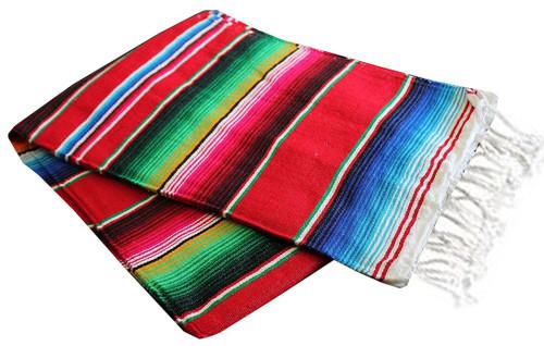 "Serape Sarape Mexican Blanket XL 84"" x 55""  (Red)"